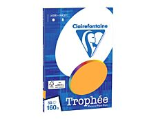 Clairefontaine Trophée - Papier couleur - A4 (210 x 297 mm) - 160 g/m² - 50 feuilles - clémentine