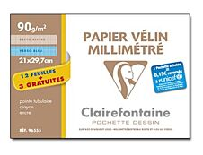 Clairefontaine - Pochette papier à dessin millimétré - 15 feuilles - A4 - 90G
