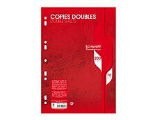 Calligraphe - 200 copies doubles A4 - petits carreaux (5x5 mm) - perforées