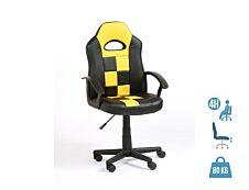 Fauteuil gamer FORMULE 1 - accoudoirs fixes - Noir et jaune