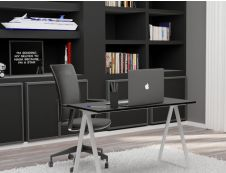 EasyHome - Bureau télétravail LV9 110 cm - blanc/noir