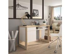 Bureau Morzine 120 cm - chêne sonoma et blanc