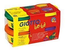 GIOTTO be-bè - pâte à modeler - 4 pots Jaune, Orange, Vert, Violet -100gr