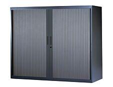 Armoire basse à rideaux - L120  x H105 x P43 cm - 2 tablettes - anthracite