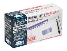 GPV Secure - 100 Enveloppes DL+ 112 x 225 mm - 90 gr - fenêtre 45x100 mm - blanc - autocollante