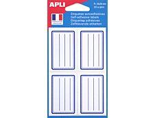 Apli - 32 Étiquettes scolaires cadre et lignes bleus - 36 x 56 mm - réf 111977