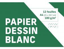 Pochette dessin blanc - 12 feuilles - 21 x 29,7 cm - 180 gr