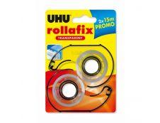 UHU rollafix - 2 Dévidoirs avec ruban de bureau transparent 15m