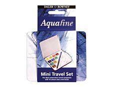 Daler-Rowney Aquafine - Peinture super fine 10 demi-godets avec pinceau et palette - couleurs assorties