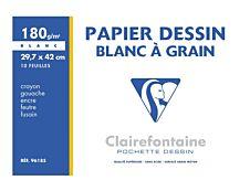 Clairefontaine Dessin à Grain - Pochette papier à dessin - 10 feuilles - A3 - 180 gr - blanc