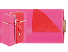 Logistipack - Papier cadeau kraft réversible - 70 cm x 50 m - 60 g/m² - rose/rouge