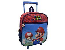 Sac à dos à roulettes Super Mario - 1 compartiment - bleu et rouge - Bagtrotter