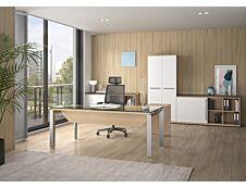 Bureau verre SLIVER avec voile de fond - 190 cm - Pieds métal - Chêne fil et blanc