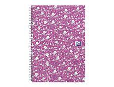 Oxford Floral - Carnet de notes à spirale - A5 - 120 pages - petits carreaux