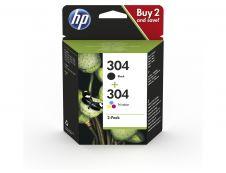 HP 304 - pack de 2 - noir, cyan, magenta, jaune - cartouche d'encre originale