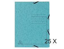 Exacompta - 25 Chemises à 3 rabats imprimées - A4 - turquoise