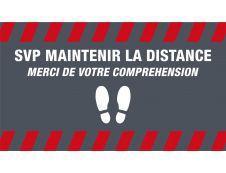 Novus Dahle - Tapis de distanciation sociale - gardez vos distances  - 85 x 150 cm gris rouge