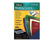 Fellowes - 100 couvertures à reliure A4 (21 x 29,7 cm) - carton grain cuir  250 g/m² - bleu royal