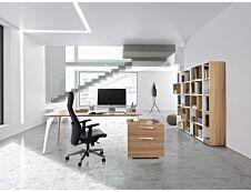 Bureau XENON avec bloc de rangement 2 tiroirs - 190 cm - Pieds métal - Merisier italien