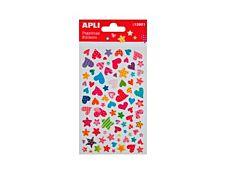 Apli - 1 feuille gommettes cœurs et étoiles