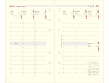 Oberthur 17 - Recharge pour organiseur - 1 semaine sur 2 pages à la verticale - 9,5 x 19,5 cm