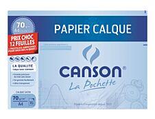 Canson format spécial - pochette papier à dessin  calque - 12 feuilles - A4 - 70G - blanc