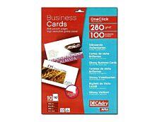 Apli DECAdry - Papier pour 100 cartes de visite brillantes 85 x 54 mm - 280 g/m² - 10 feuilles