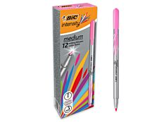 BIC Intensity - Pack de 12 - feutres fins - pointe moyenne - rose