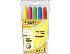 BIC Highlighter Grip - Pack de 5 - surligneurs - couleurs assorties