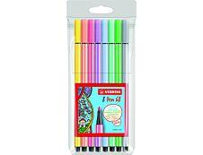 STABILO Pen 68 - 8 feutres pointe moyenne - coloris pastel
