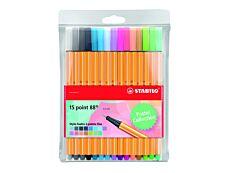 STABILO point 88 - 15 Feutres fins - 0.4 mm - couleurs pastels assorties