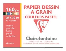 Clairefontaine Dessin à Grain - Pochette papier à dessin - 12 feuilles - 24 x 32 cm - 160 gr - blanc