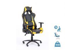 Fauteuil gamer SPORTING - accoudoirs réglables - Noir et jaune