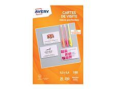 Avery - Papier pour 250 cartes de visite micro perforées 85 x 54 mm - 180 g/m² - impression jet d'encre - 25 feuilles
