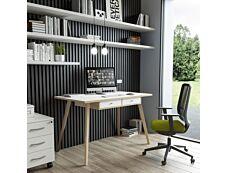 Bureau télétravail avec tiroirs - 120 cm - blanc/chêne - pieds chêne