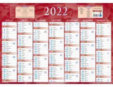 Bouchut 230 - Calendrier bancaire 7 mois par face - 38,5 x 54 cm - rouge