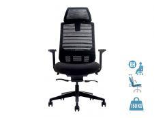 Fauteuil de bureau ergonomique JACK - accoudoirs réglables - appuie-tête réglable - Noir