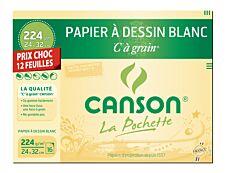 Canson C à grain format spécial - Pochette papier à dessin - 12 feuilles - 24 x 32 cm - 224 gr - blanc