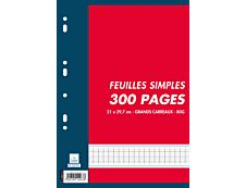 Cambridge - 300 feuilles simples A4 - grands carreaux - perforées