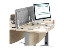 Écran de séparation acoustique pour bureau - L160 x H43 cm - gris chiné