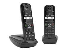 Gigaset AS690 Duo - téléphone sans fil + combiné supplémentaire - noir