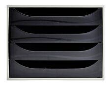 Exacompta Ecobox - Module de classement 4 tiroirs - gris/noir