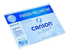 Canson - pochette papier à dessin  millimétré - 12 feuilles - A4 - 90G - bleu