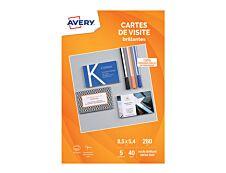 Avery - Papier pour 40 cartes de visite à bords lisses 85 x 54 mm - 240 g/m² - impression jet d'encre - 5 feuilles
