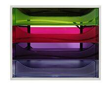 Exacompta Ecobox - Module de classement 4 tiroirs - gris/ arlequin transparent
