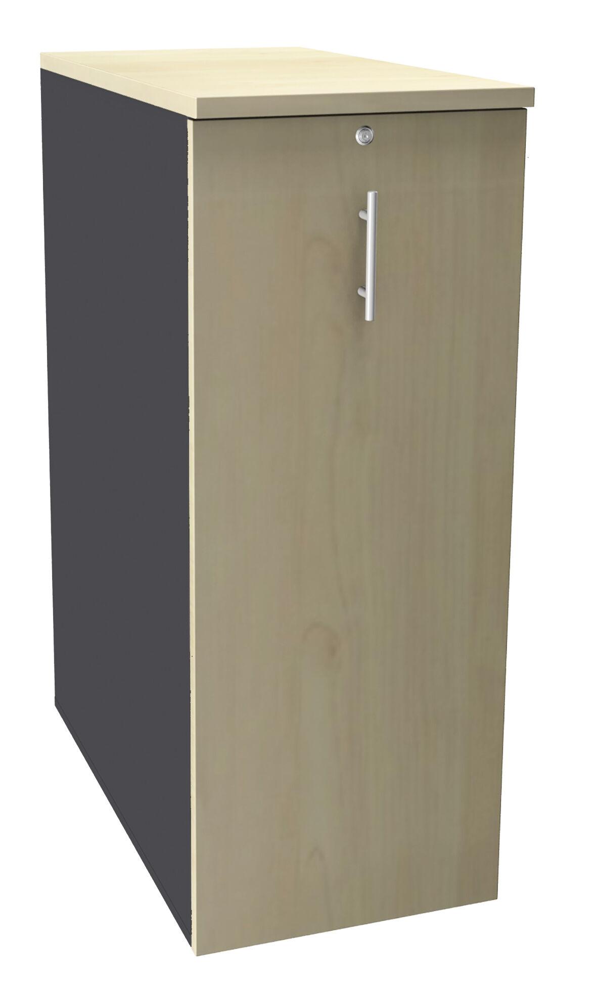 Caisson TOWER - L44 x H114 x P80 cm - 3 tablettes + 1 support DS réglable - structure anthracite - dessus et façade imitation érable
