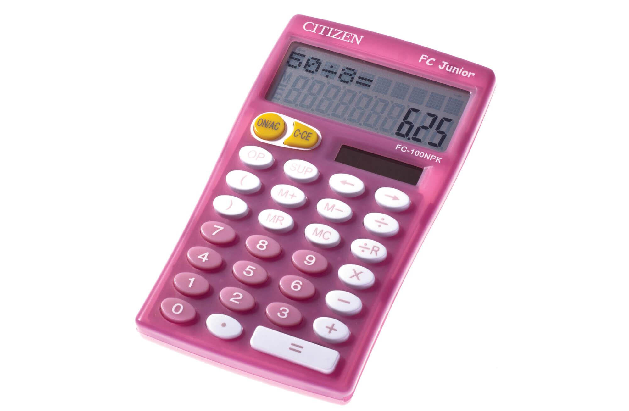Calculatrice de bureau Citizen FC-100N - 10 chiffres - alimentation batterie et solaire - rose
