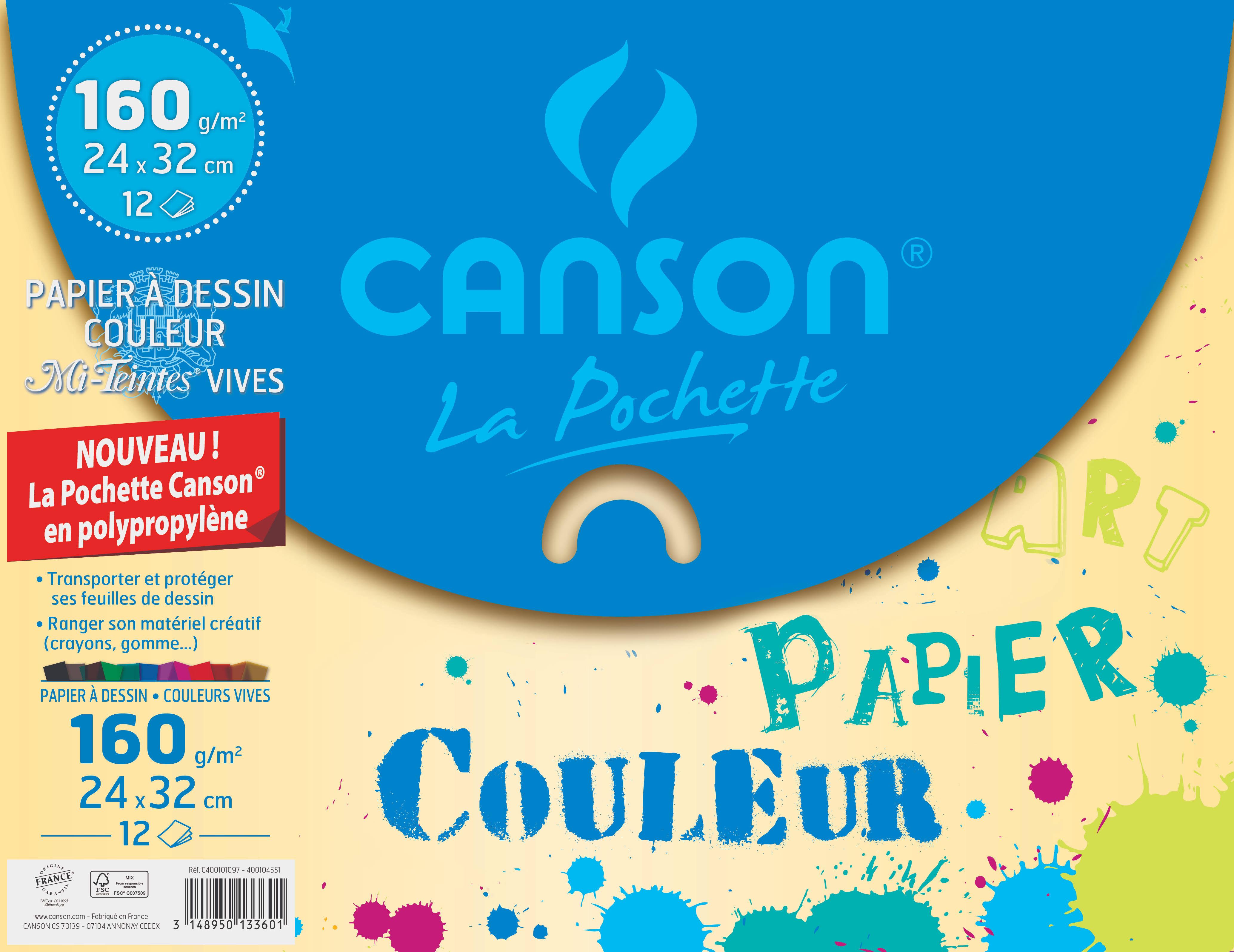 Canson - pochette papier à dessin  - 12 feuilles - 24 x 32 cm - 160G - Teintes Vives