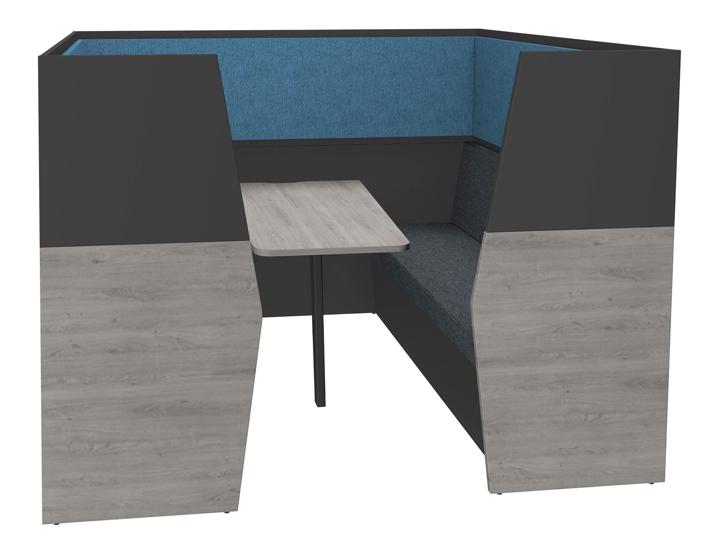 Box acoustique IN'TEAM - L210 x H 150 x P170 cm - 6 places avec table - structure chêne gris et carbone - panneaux bleu chiné