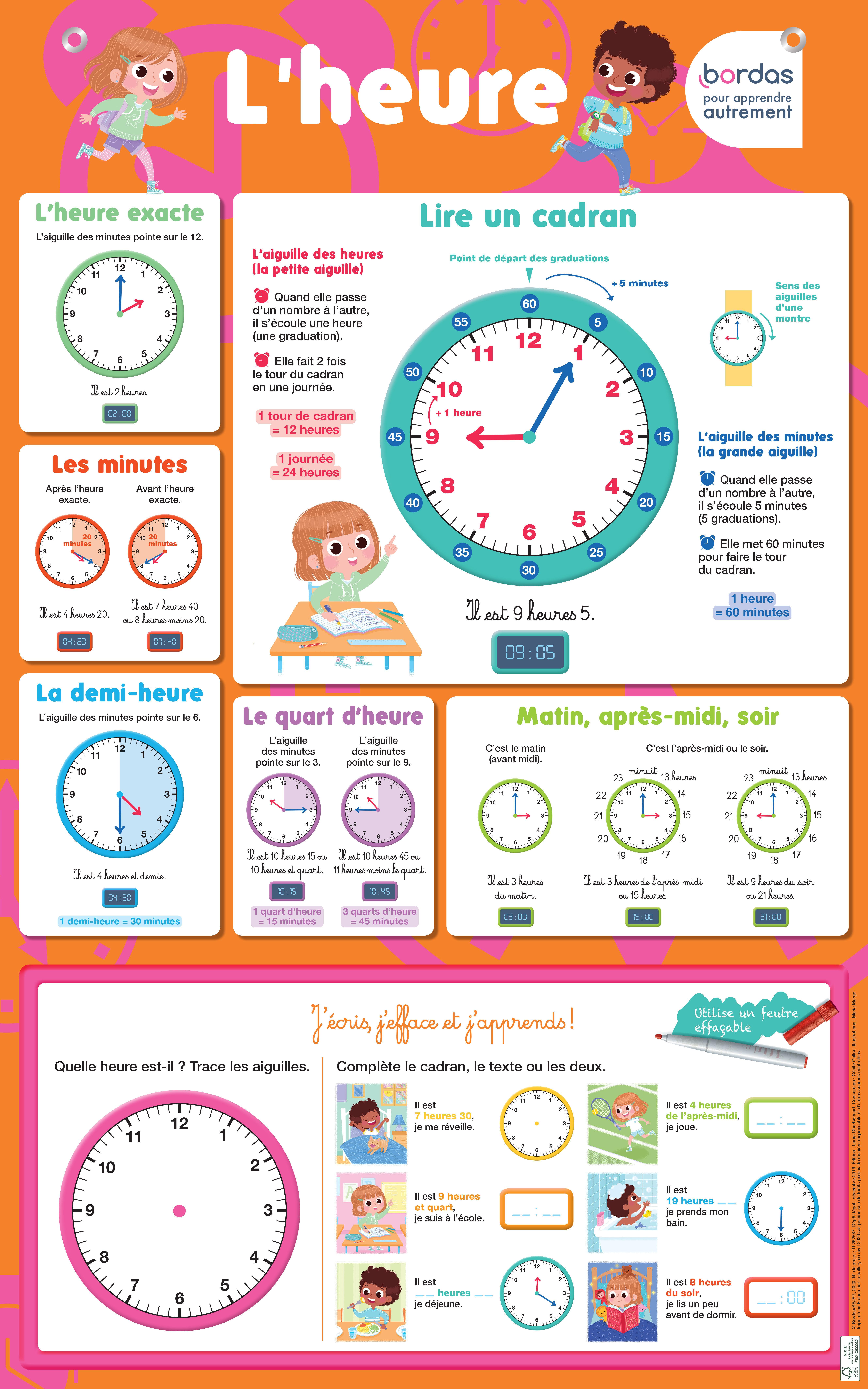 Les posters effaçables - J'apprends à lire l'heure - dès 6 ans